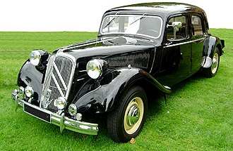 Front-wheel drive - The historic 1934 Citroën Traction Avant — its model name literally means front-wheel-drive, one of the break-through innovations of the car.