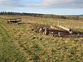 Trailer and logpile near South Healey Farm - geograph.org.uk - 622096.jpg