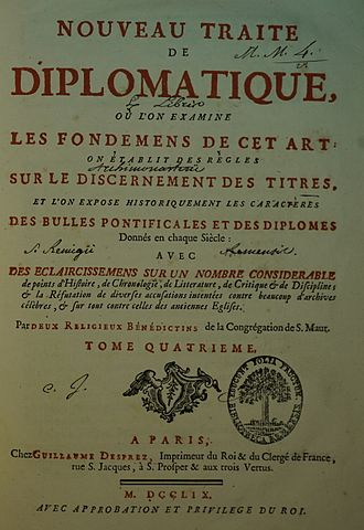 Diplomatics - Title page of Volume 4 of Tassin and Toustain's Nouveau traité de diplomatique (1759)