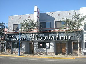 Exterior of Doug Weston's Troubadour nightclub...