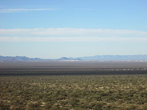 Sentinel Peak (Arizona) - Image: Tumamoc Hill and A Mountain from Huerfano Butte area 2013