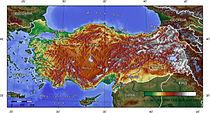 Törökország domborzati térképe