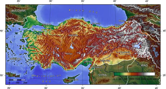 Törökország topográfiai térképe - Forrás: Wikipédia