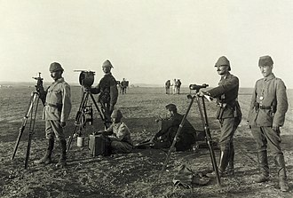 Huj, Gaza - Ottoman heliograph crew at Huj during World War I, 1917