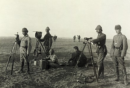 Fig. 3 Ottoman heliograph crew at Huj during World War I, 1917 Turkish heliograph at Huj2.jpg