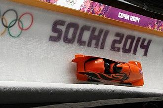 Netherlands at the 2014 Winter Olympics - Pilot Edwin van Calker and crewman Bror van der Zijde in the Dutch two-man bobsleigh on 17 February 2014