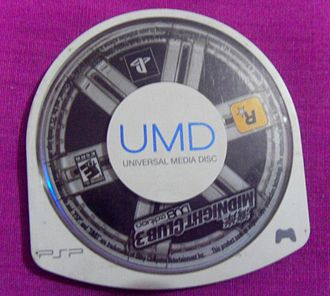 A typical PSP game, on a Universal Media Disc UMDDISCK.JPG