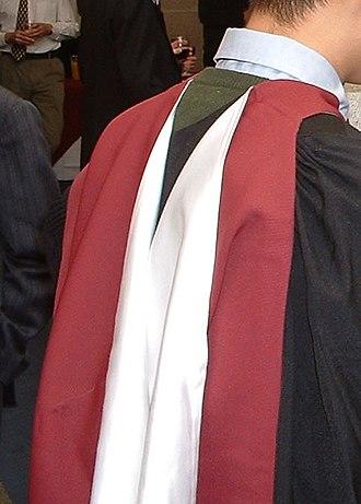 Academic dress of the University of Bristol - Master's hood.