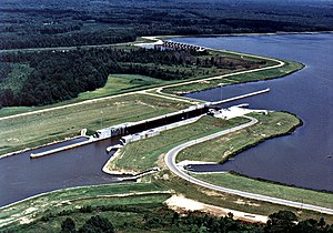 Aerial view of Glover Wilkins Lock and Dam on ...