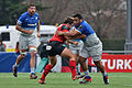 USO - Saracens - 20151213 - Laurent Delboubles trying to tackle Mako Vunipola.jpg