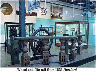 USS Hartford (1858) - Wheel and fife rail from the USS Hartford; displayed at the U.S. Navy Museum in Washington, D.C.