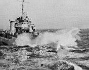 USS Rodman (DMS-21) in heavy seas 1954