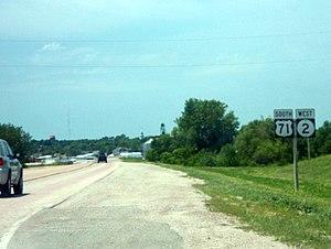 Iowa Highway 2 - US 71 has a concurrency with Iowa 2 near Clarinda.