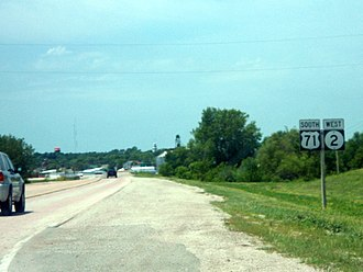 Iowa Highway 2 - US 71 has a concurrency with Iowa 2 near Clarinda.