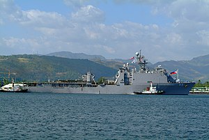 USS Harpers Ferry (LSD-49) - USS Harpers Ferry prepares to moor in Subic Bay, Philippines (2006).