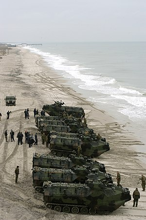 Onslow Beach - Amphibious Assault Vehicles on Onslow Beach during a beach invasion exercise in 2006