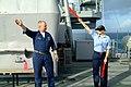 US Navy 060225-N-4772B-049 Chief Quartermaster James Clayton gives semiphore training to Quartermaster 3rd Class Kearah Critchfield on the signal bridge.jpg