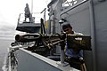 US Navy 060827-N-6240R-007 A sailor aboard the Columbian frigate ARC (Armada Republica de Colombia) Antioquia (FL 53) mans a M60 machine gun while standing a bridge security watch during exercise PANAMAX 2006.jpg