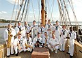 US Navy 070402-N-8704K-012 The Navy Show Band poses for a photo aboard the 17th century sail ship Godspeed, a replica of one of four ships that brought English Colonists to Virginia in 1607.jpg