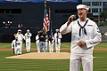 US Navy 070501-N-3659B-381 Intelligence Specialist 2nd Class Jarrod Fowler, from San Bernardino, Calif., sings the National Anthem prior to a San Diego Padres baseball game which honored USS Ronald Reagan (CVN 76).jpg