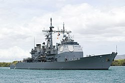 US Navy 080626-N-6674H-048 The guided-missile cruiser USS Lake Erie (CG 70) arrives at Naval Station Pearl Harbor for Rim of the Pacific (RIMPAC) 2008.jpg