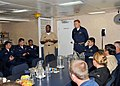 US Navy 080924-N-1713L-040 Vice Adm. Mel Williams Jr. discusses ship issues with the crew of the amphibious dock landing ship USS Whidbey Island (LSD) 41.jpg