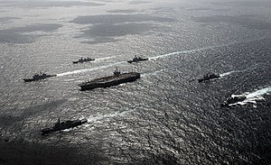 Foal Eagle - Vessels of Carrier Strike Group Three sail in formation with ROK Navy ships during Key Resolve/Foal Eagle 2009