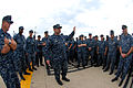 US Navy 110811-N-NK458-031 Cmdr. Thomas A. Winter addresses the crew of USS Montpelier (SSN 765) during quarters.jpg