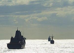 US Navy 111203-N-NR955-080 A view from the Whidbey Island-class amphibious dock landing ship USS Gunston Hall (LSD 44) as it follows the amphibious.jpg
