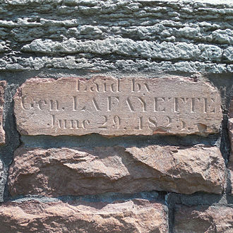 "Visit of the Marquis de Lafayette to the United States - Original cornerstone of ""South College"" in Burlington"