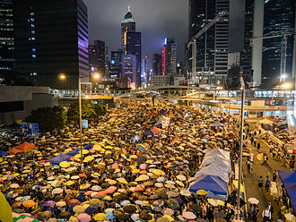 Harcourt Road - Protesters occupying Harcourt Road in October 2014.
