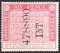 United Kingdom Electric Telegraph Company Limited 6d uninsured message stamp c. 1865.jpg