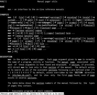 man page standard UNIX utility for reading manual pages