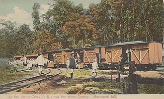 Stann Creek Railway - Up the Stann Creek R. R. (near the stone Quarry, Maccaroni hill)