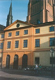 Detail of the Consistory House, Uppsala, with the cathedral in the background. Designed by architect Carl Hårleman and completed in 1755, it remained the administrative core of the university for a long time.