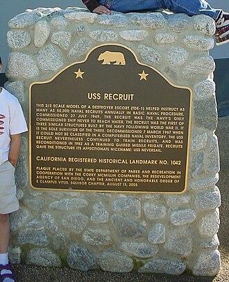 USS Recruit (TDE-1) - California historical landmark marker