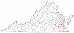 Location of Waverly, Virginia