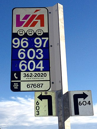 VIA Metropolitan Transit - Standard VIA bus stop signage with the agency's original logo