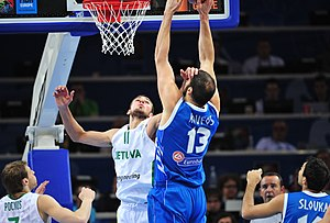 Kosta Koufos - Koufos playing with Greece against Lithuania's Jonas Valančiūnas.