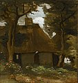 Van gogh cottage with trees and peasant woman f187 jh808.jpg