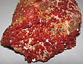 Vanadinite on Jurassic dolostone (Mibladen, Morocco) 5 (23841695615).jpg