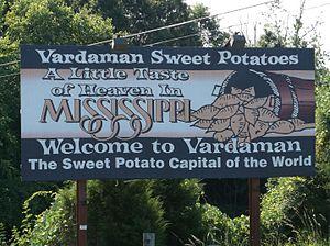 Vardaman, Mississippi - Image: Vardaman MS Sign