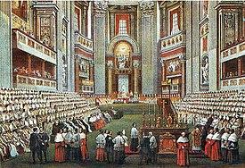 Le concile dans la basilique Saint-Pierre de Rome.