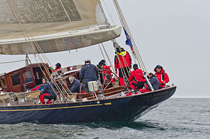 Crew on Velsheda under sail