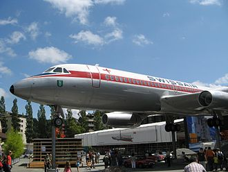 Swiss Museum of Transport - A portion of the outdoor area of the museum showing the Swissair Convair 990 Coronado jet airliner