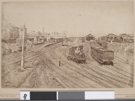 Spencer Street station platforms and goods sheds, circa 1885 Victorian Railway station.tif