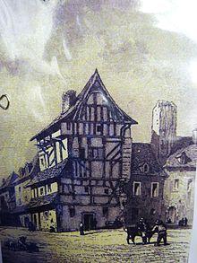 maison pans de bois quimperl gravure ancienne