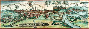 Kraków - View of Kraków (Cracovia) near the end of the 16th-century