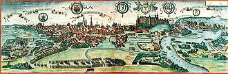 Kraków - View of Kraków (Cracovia) near the end of the 16th-century