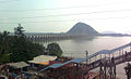 View of Prakasam Barrage and Krishna river from Indrakeeladri 02.jpg